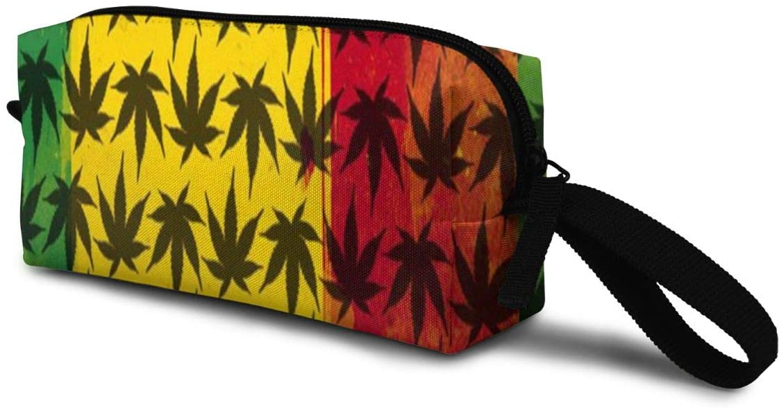 T-JH Black Weed Pattern Mini Makeup Bag,Portable Cosmetic Bag,Organizer,Toiletry Handbag,Receive Bag,Storage Pouch for Women Purse