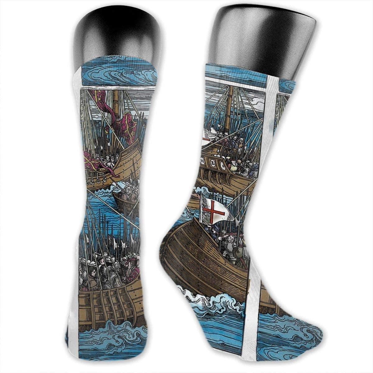 Unisex Crazy Funny Woodcut - Naval Battle Socks Colorful Athletic Sport Socks Novelty Casual Crew Socks