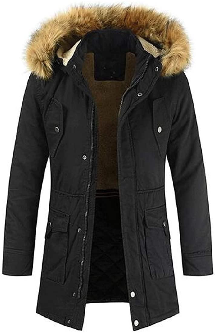 Gsdgjgg Mens Faux Fur Hooded Winter Parka Coat Warm Fleece Quilted Jacket Coat Outerwear,Black,US-S