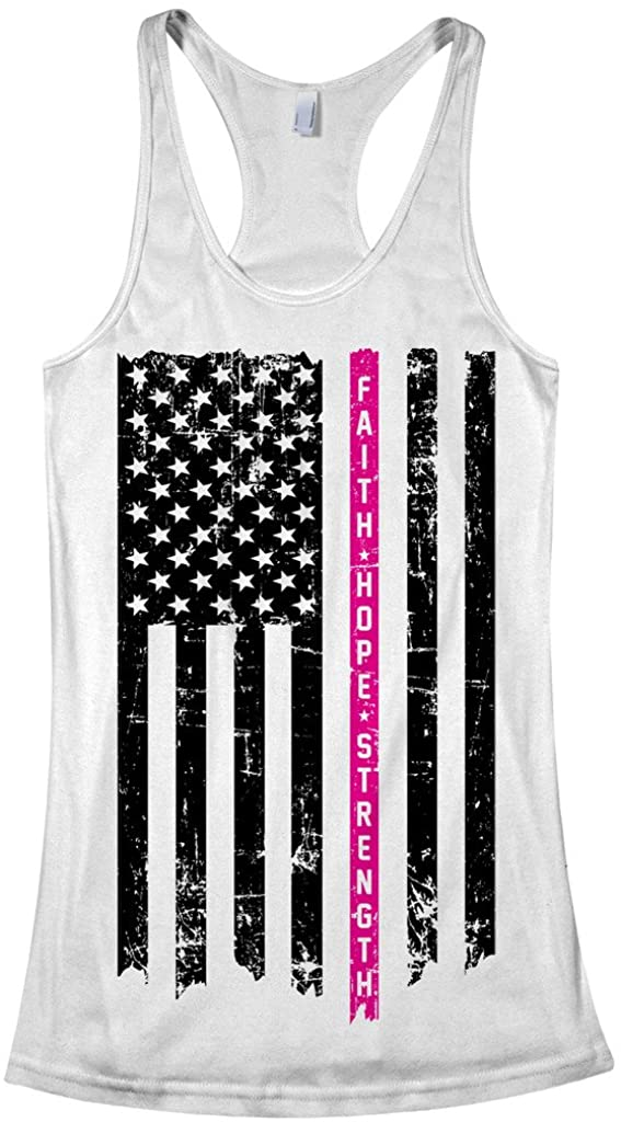 Threadrock Women's Thin Pink Line Breast Cancer Flag Racerback Tank Top