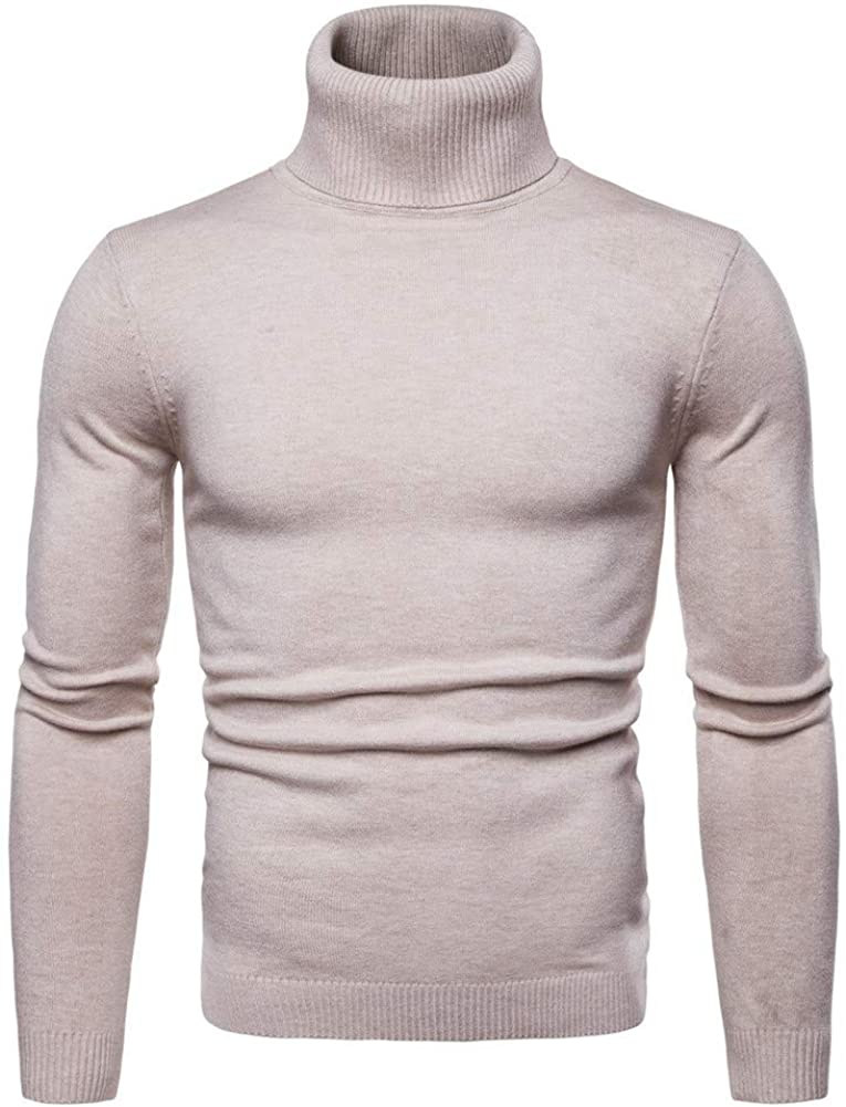 DFGHN High Collar Sweater for Men Solid Color Long Sleeve Knit Pullover Jumper