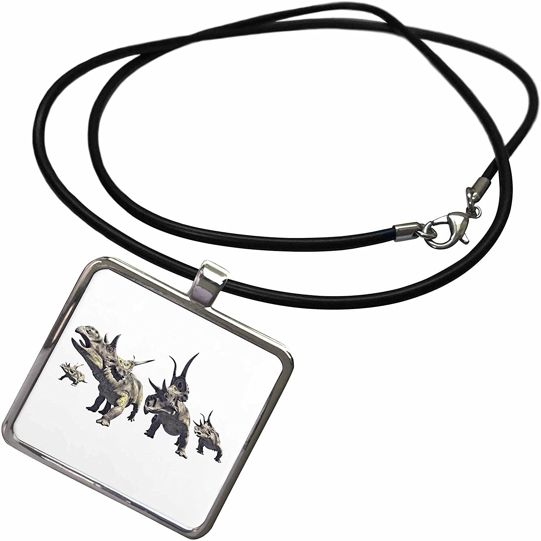 3dRose Boehm Graphics Dinosaur - Diabloceratops Herd Charging - Necklace with Rectangle Pendant (ncl_282249)