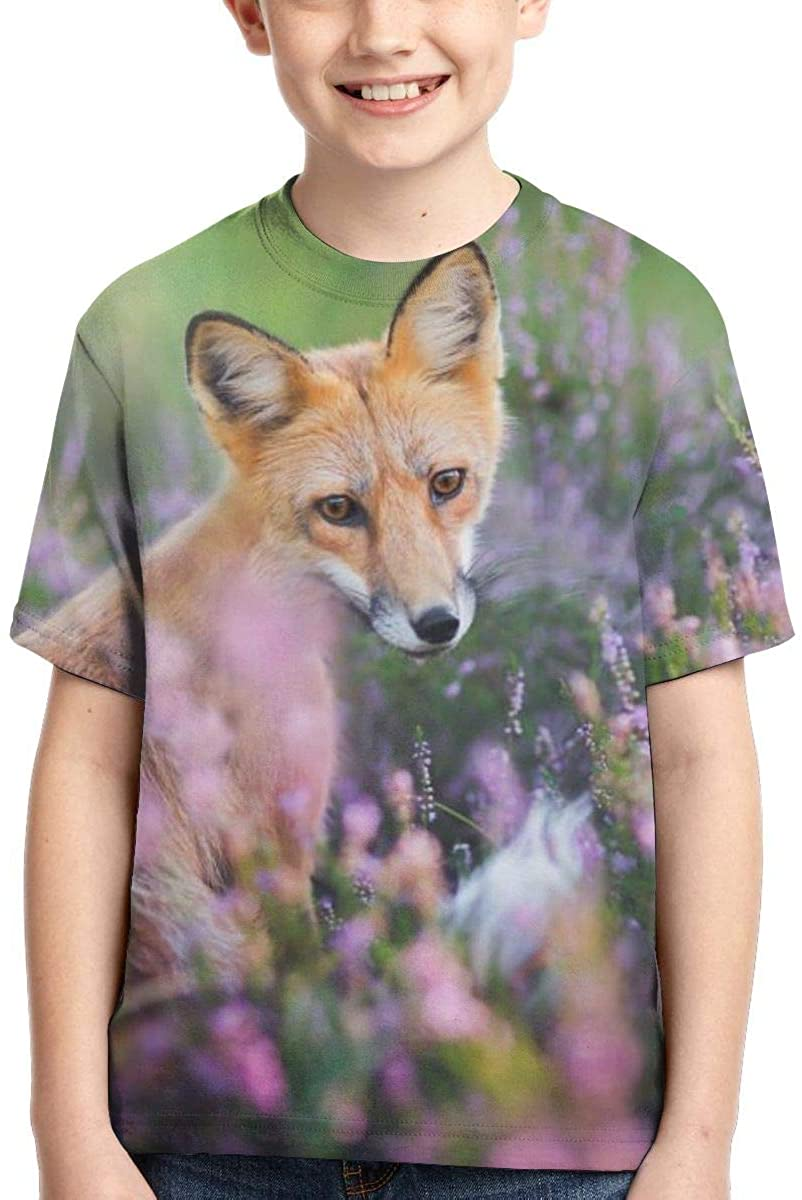 Youth T-Shirts, Fox Flower Full Printed Short Sleeve Crew Neck Tees, Summer Tops for Boys