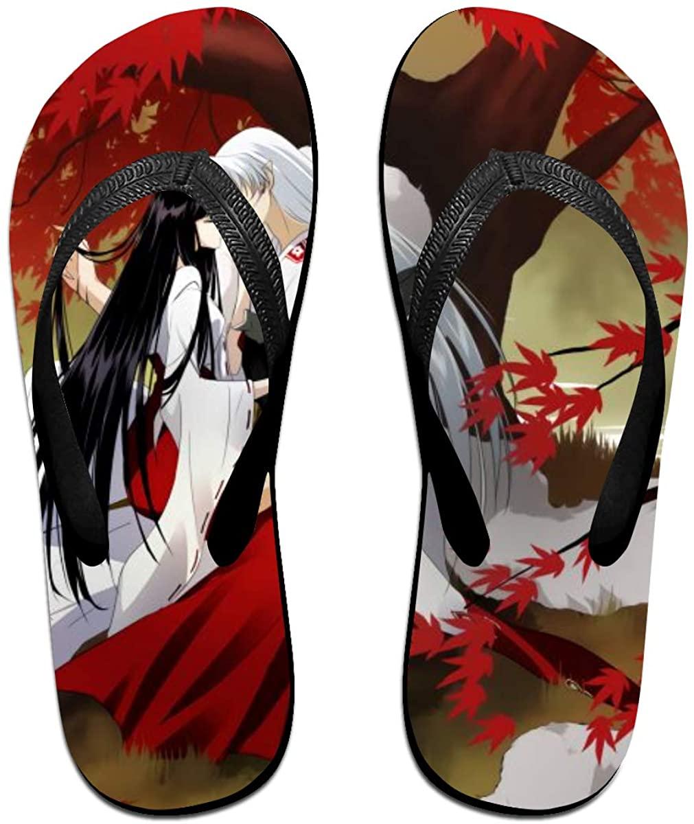 Inuyasha sesshoumaru Anime Flip Flops Beach Sandals Thong Slippers for Indoor Outdoor Bathroom Shower