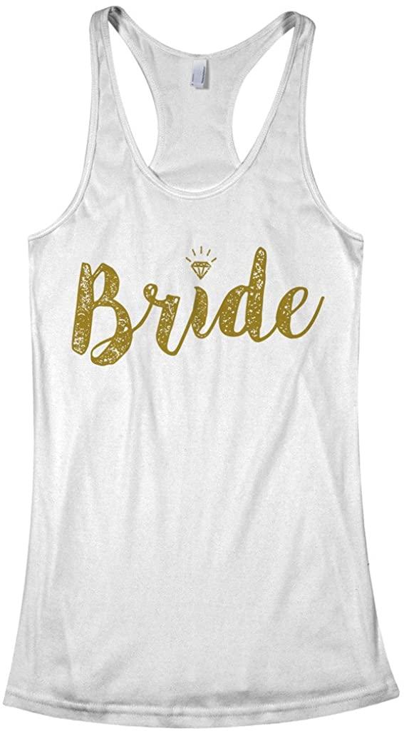 Threadrock Women's Bride Gold Script Racerback Tank Top