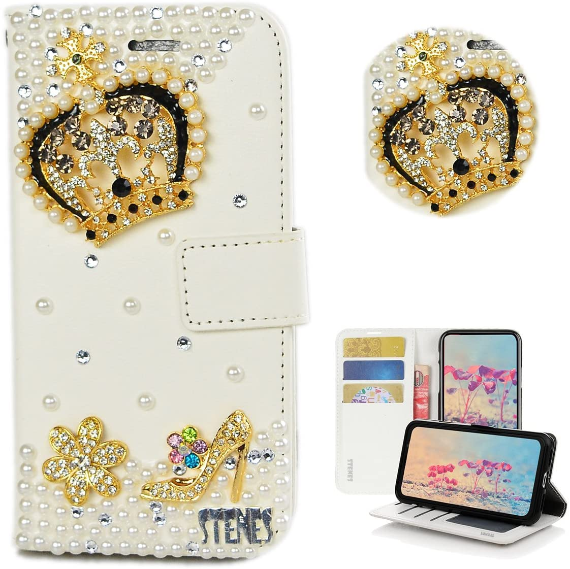 STENES iPod Touch 6 Case - STYLISH - 3D Handmade Bling Crystal Crown Girls High Heel Flowers Design Wallet Credit Card Slots Fold Stand Leather Cover For iPod Touch 5/6th - Gold