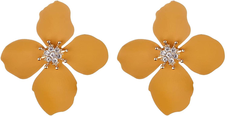 Nicole Miller New York Mustard Yellow Four Leaf Flower GoldCenter Crystal RhinesStud Earrings