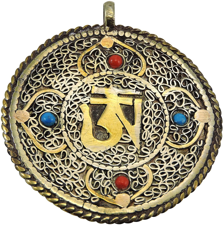 Handmade Tibetan Two Sided Brass Om Pendant and Kalachakra Design on The Back