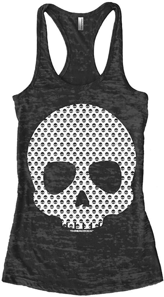 Threadrock Women's Skull Made of Skulls Burnout Racerback Tank Top