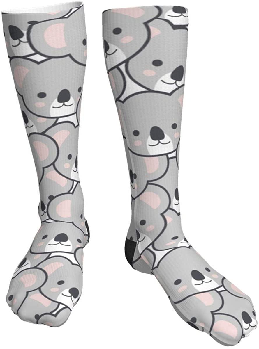 Unisex Casual Socks, Seamless Cute Cartoon Koala Pattern Athletic Socks Compression Crew Socks 50cm Long Socks
