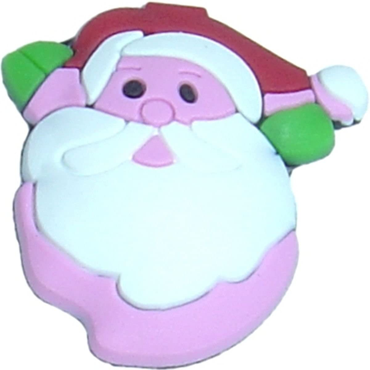 Santa on Pink Rubber Charm for Wristbands and Shoes