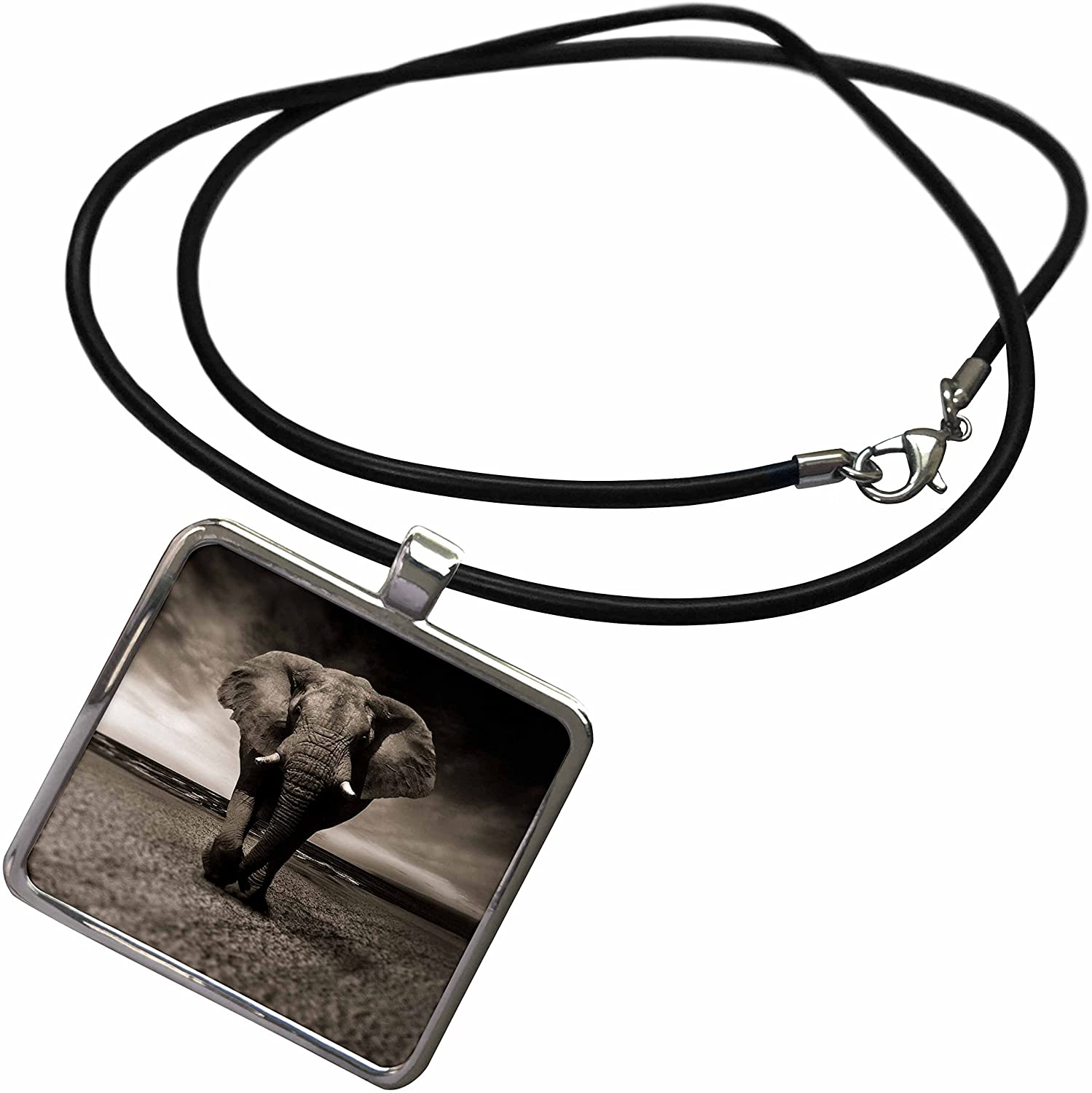 3dRose Sven Herkenrath Animal - African Wildlife Elephant Mammal Zoo Jungle - Necklace with Rectangle Pendant (ncl_266229)
