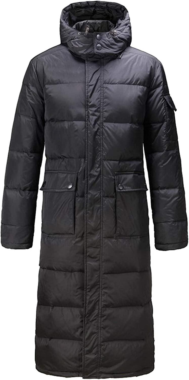 Flygo Men's Winter Hoodie Long Down Filled Coat Puffer Parka Outerwear