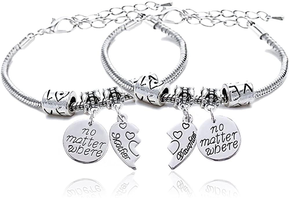 lauhonmin 2pcs Mother Daughter Bangles Set No Matter Where Compass Split Broken Heart Expandable Bracelets Gift