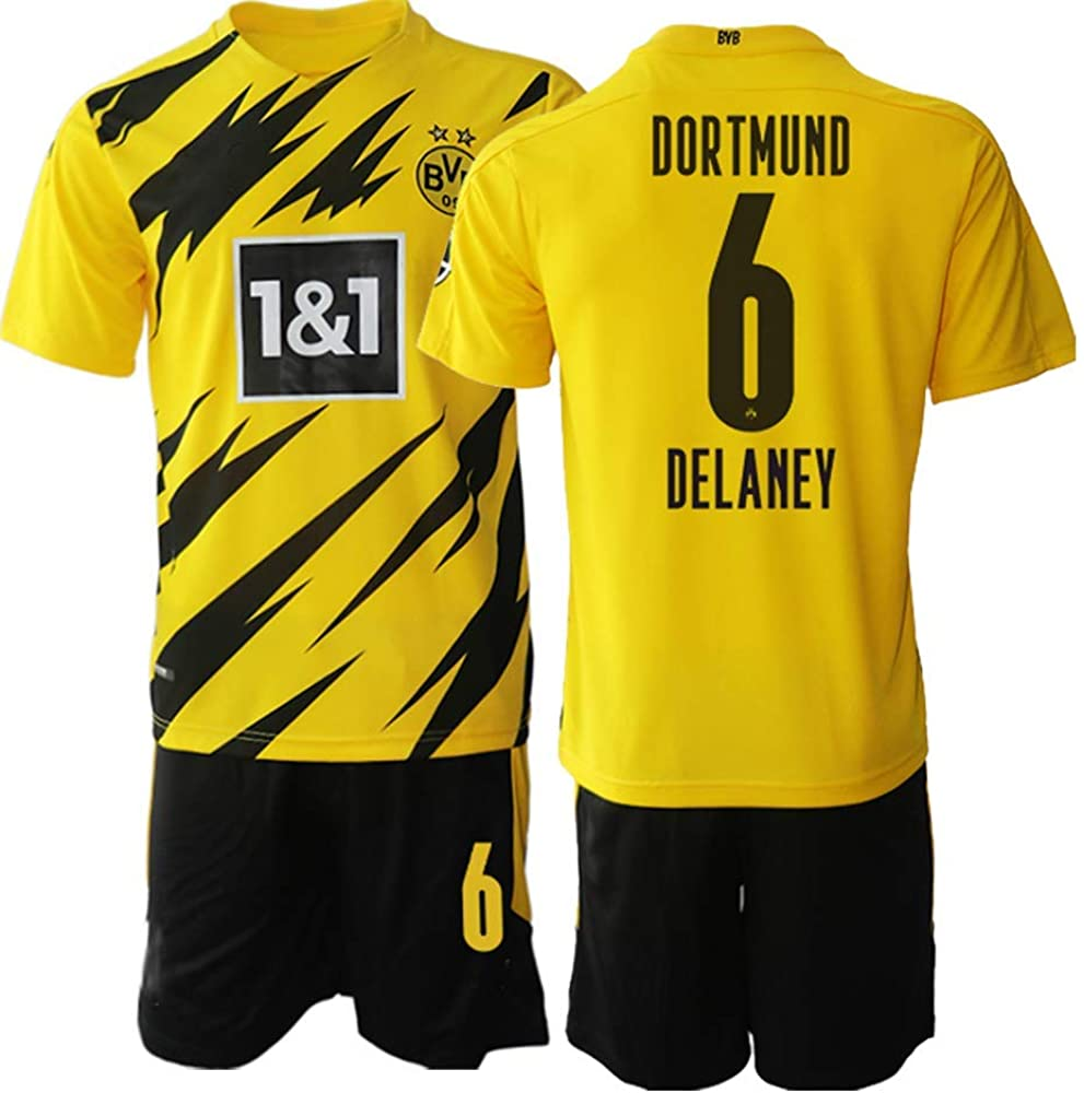 WEIFENG Kids 20/21 Delaney 6# Soccer Jersey T-Shirt and Sports Shorts Suit -Yellow