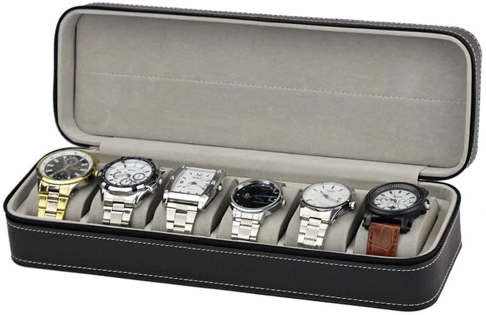 PUEEPDEE Watch Storage Box Men's Leather Zippered Watch Box Storage Boxes 6-Slot Black Watch Storage Boxes for Men (Color : Black, Size : 33117.5cm)