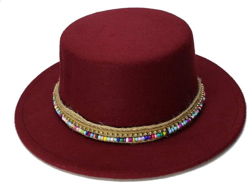 Casa perfecta Fashion Wool Boater Flat Top Hat for Men's Felt Wide Brim Fedora Hat Gentleman Prok Pie Chapeu de Feltro Bowler Gambler Top Hat (Color : Wine red, Size : 57-58cm)