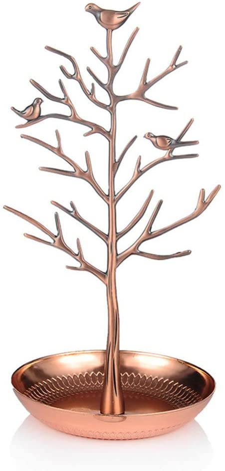 DSstyles Jewelry Stand,Stainless Steel Display Rack Tree Shape for Key Earring Necklace Hanging Bronze