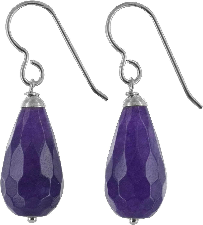 ASHANTI Purple Jade Quartz Natural Gemstone Sterling Silver Handmade Earrings