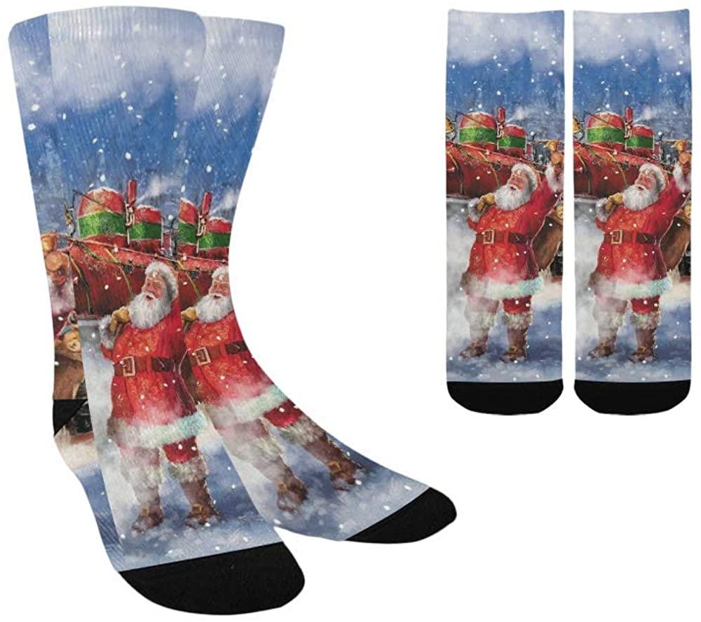 Santa Claus Christmas Train Kid's Custom Socks Colorful Fashion Sport Socks For Boys Girls