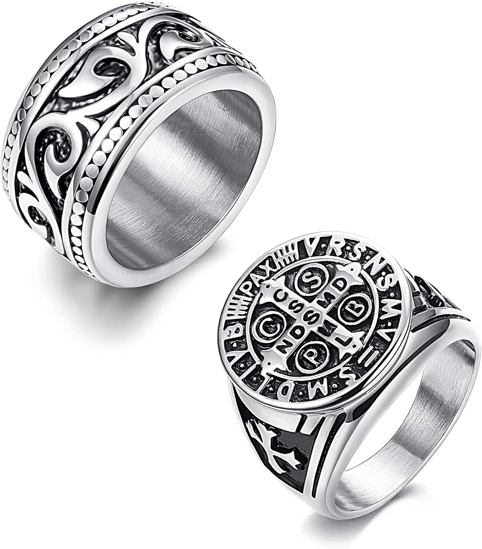 Finrezio 2Pcs Stainless Steel Rings for Men Vintage Silver Biker Signet & Band Ring Set Size 6-13