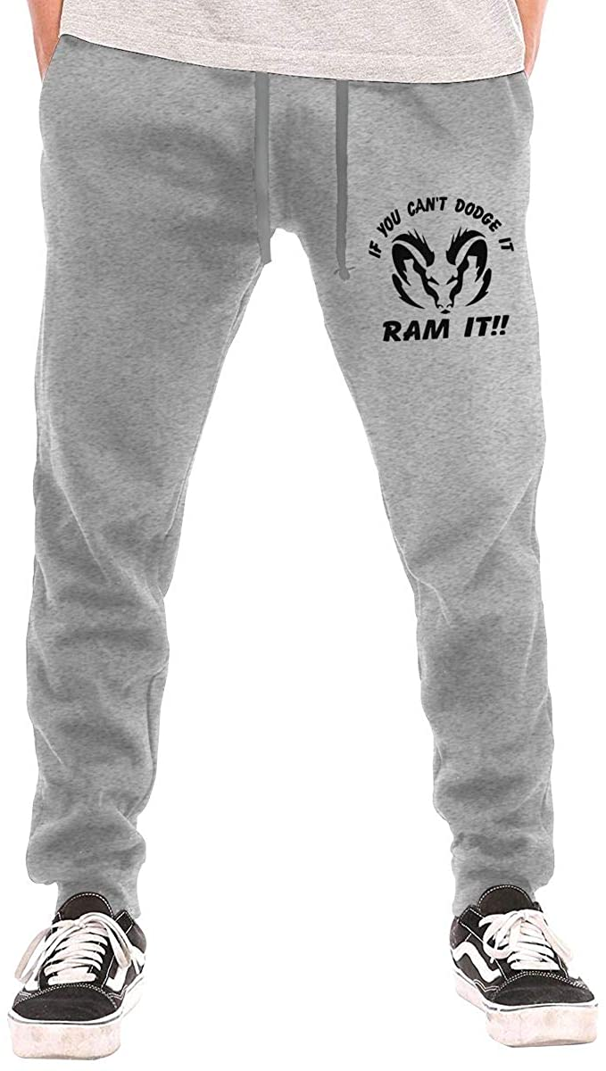 If You Can't Dodge It Ram It Men's Casual Jogger Drawstring Waist Long Sweatpants with Pockets
