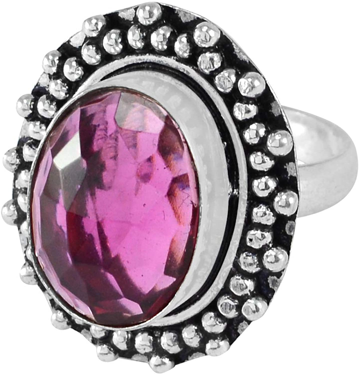 Silvesto India Pink Quartz Ring, Handmade Jewelry Manufacturer 925 Silver Plated, Vintage Style Ring, Statement Jewelry, Dainty Ring Sz 8 Jaipur Rajasthan India