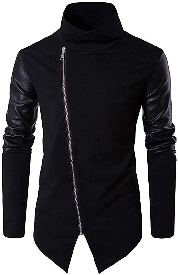 Men Draped Neck Sweatshirt Faux-Leather Asymmetry Coats Jacket
