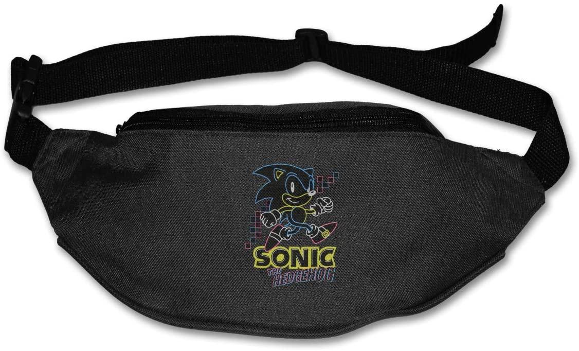 Ssxvjaioervrf Sonic The Hedgehog Glow-in-The-Dark Neon Running Belt Waist Pack Runners Belt Fanny Pack Black