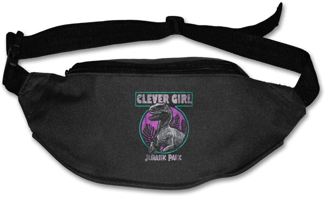 Ssxvjaioervrf Jurassic Park Distressed Teal Raptor Clever Girl Running Belt Waist Pack Runners Belt Fanny Pack Black