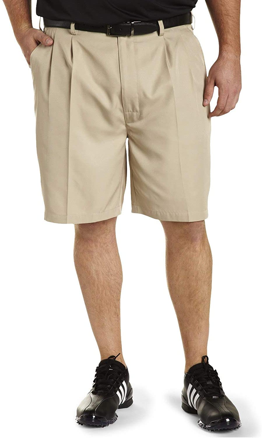 Reebok Big and Tall Golf Play Dry Continuous Comfort Pleated Shorts Khaki