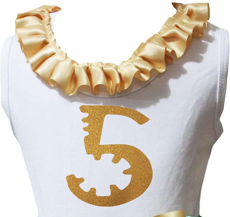 Petitebella Birthday 1ST 2ND 3RD Gold Neck Ruffle Shirt Girl Blouse 1-8y