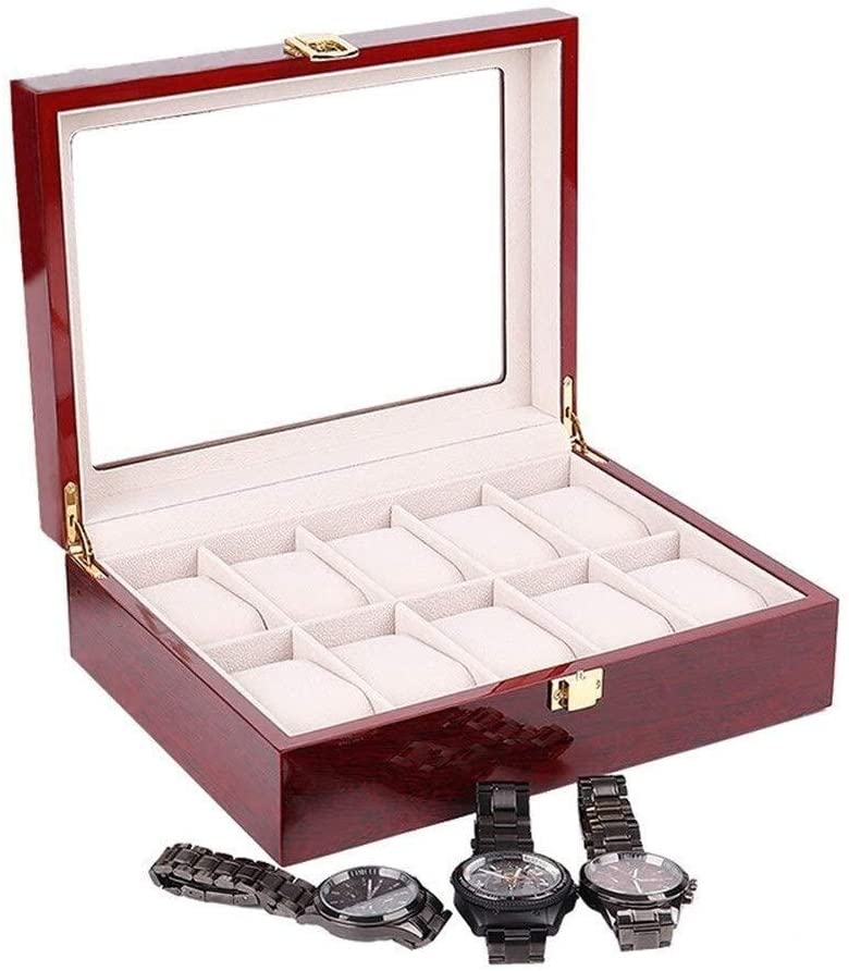 Watch Box Watch Display Storage Case Chest with Glass Top Holds 10 Watches