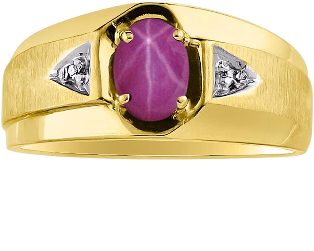 Star Ruby & Diamond Ring set in 14K Yellow or 14K White Gold