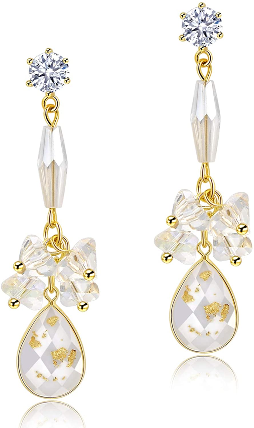 Crystal Gold Plated Dangle Earrings (2