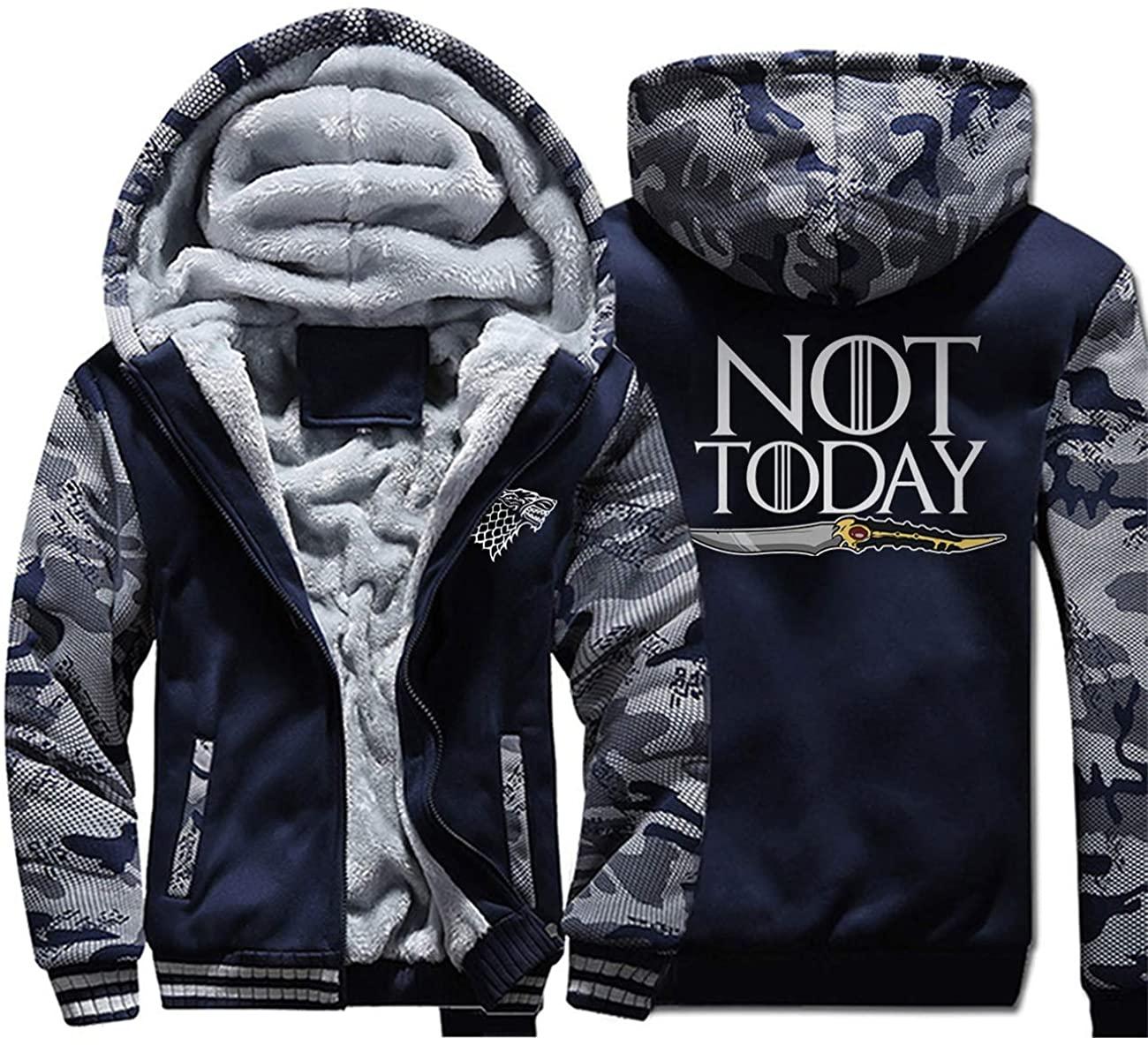 Fashion-zone Men's Winter Thicken Fleece Sherpa Lined Hoodie Sweatshirt Jacket with Zipper Pockets