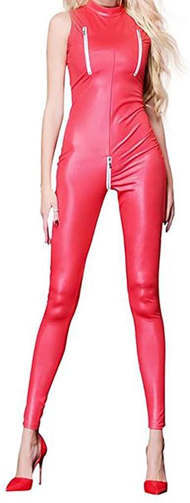 LinvMe Women Faux Leather Leotard Catsuit Zipper Bust Crotch Bodysuit