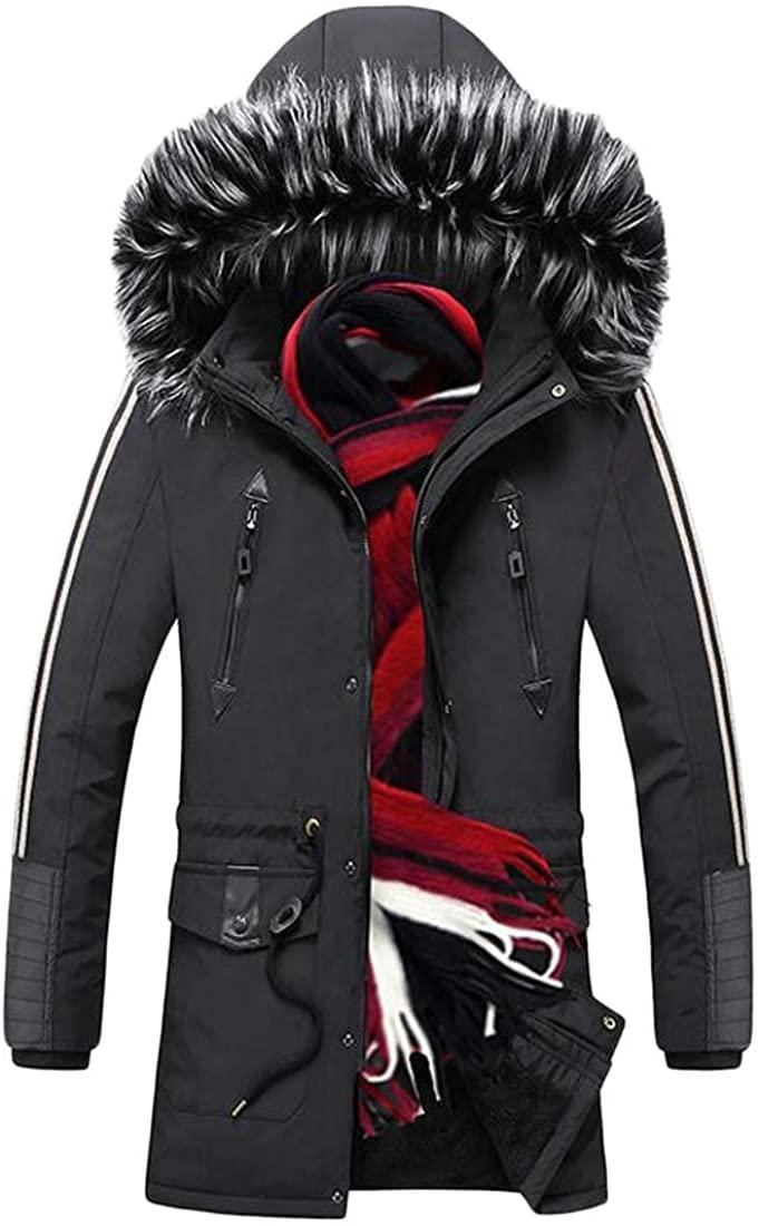 Smeiling Men's Fashion Faux Fur Hooded Warm Fleece Lined Outwear Jackets Coats