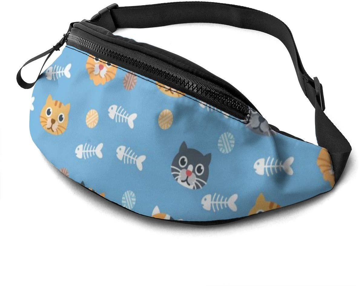 Cute Cat Pattern On Blue Fanny Pack For Men Women Waist Pack Bag With Headphone Jack And Zipper Pockets Adjustable Straps