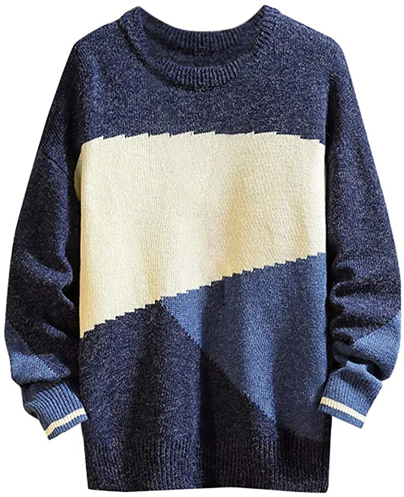 Mens Classic Crew Neck Pullover Sweaters - NRUTUP Regular Fit Casual Colour Block Sweater, Winter Work Basic Jumper Tops