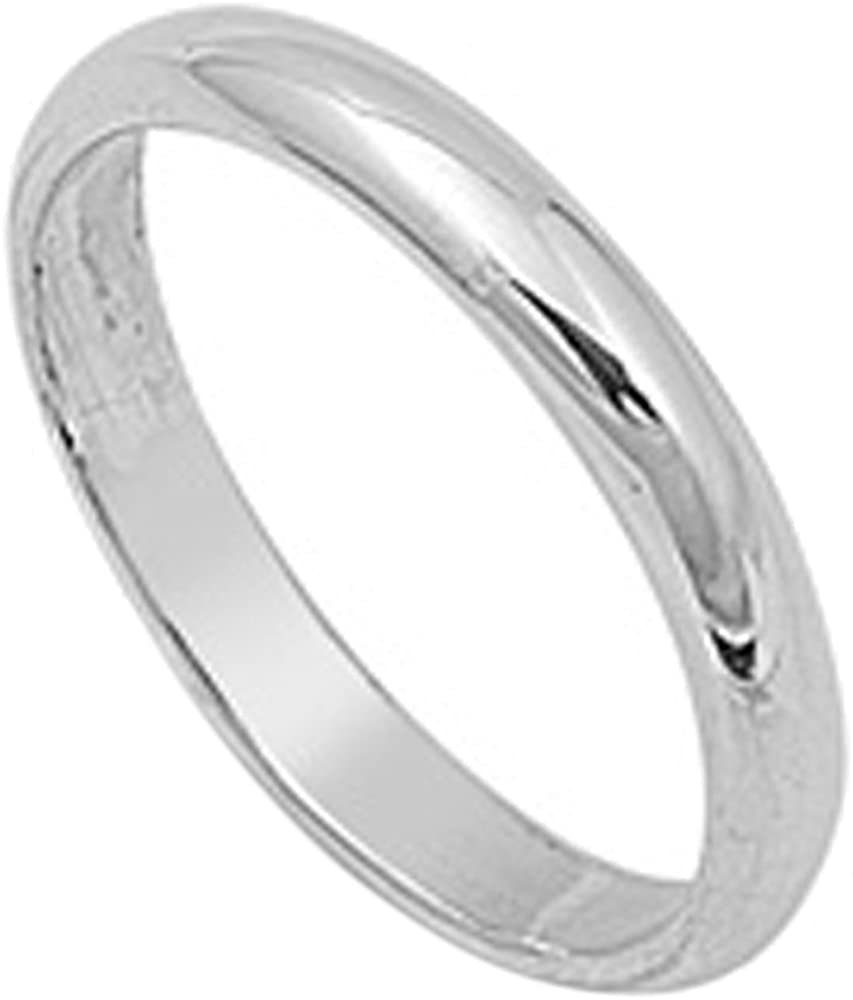 Sterling Silver Wedding Ring Classic Domed Plain Wedding Band 3MM (Size 2 to 16)