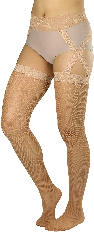 ToBeInStyle Women's Flirtatious Hip Criss Cross Lace Fishnet Garter Belt Stockings