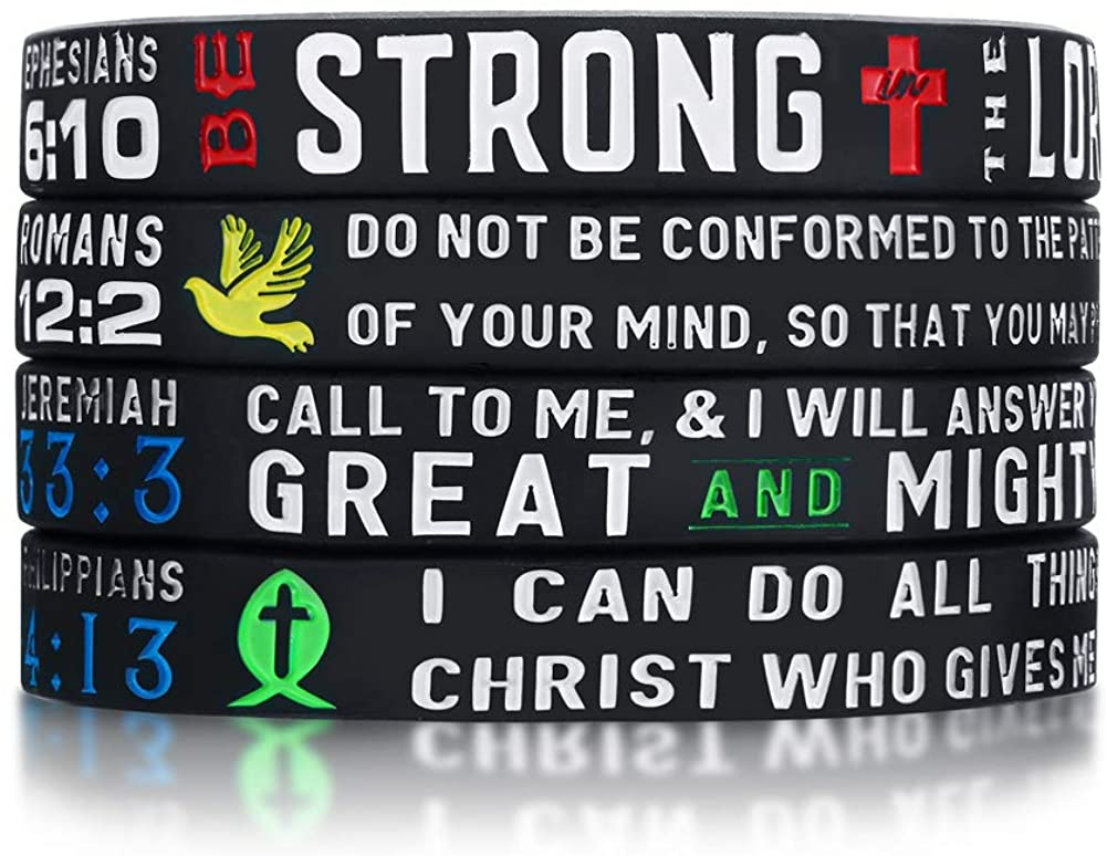 MPRAINBOW Power of Faith Bible Verse Wristbands -Bible Philippians Christian Religious Silicone Bracelet Jewelry Gifts