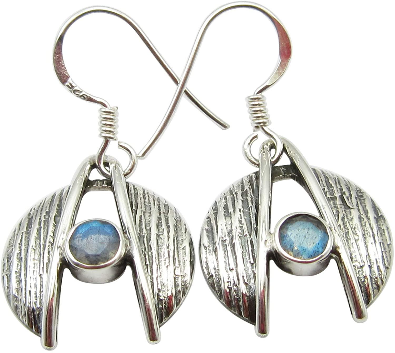 SilverStarJewel Faceted Labradorite Dangling Earrings 1.2