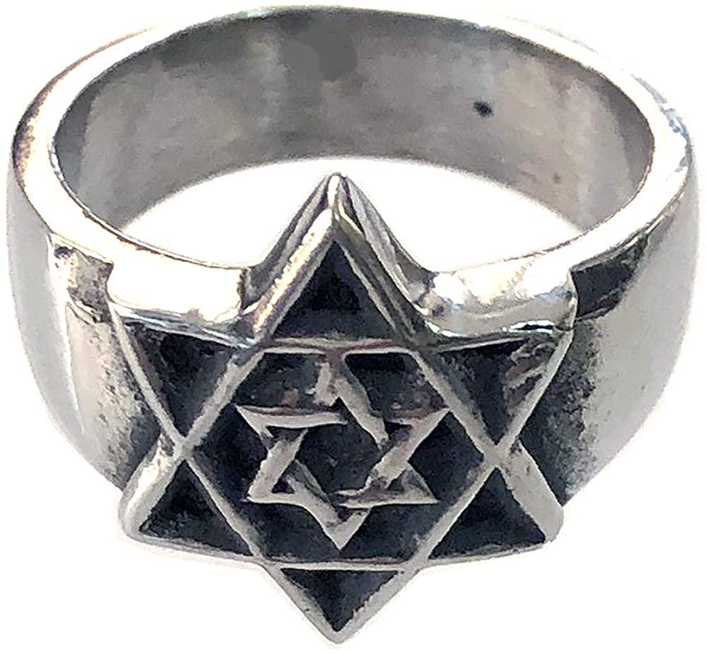 Ohdeal4U Hexagram Star of David Jewish Jews Hanukkah Solomon Solid Pewter Ring in Silver