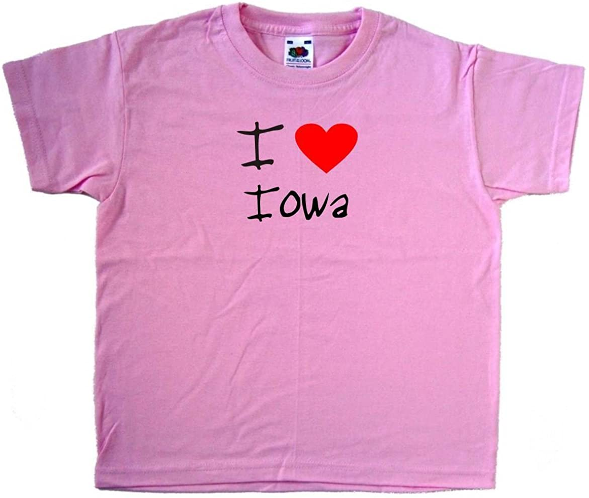 I Love Heart Iowa Pink Kids T-Shirt