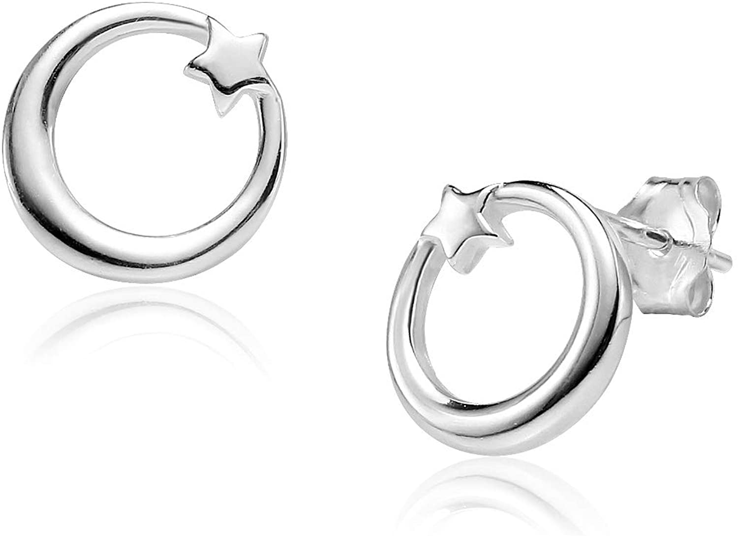 Big Apple Hoops - High Polished Sterling Silver Minimalist Circle with Heart Stud Earrings Made from Genuine Solid 925 Sterling Silver Special Fashion Gifts for Women, Teens, Men
