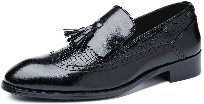 Mens Moccasins Slip-On Dress Shoe Tassel Leather Loafers Shoes Noble Smoking Slipper Vintage Loafer