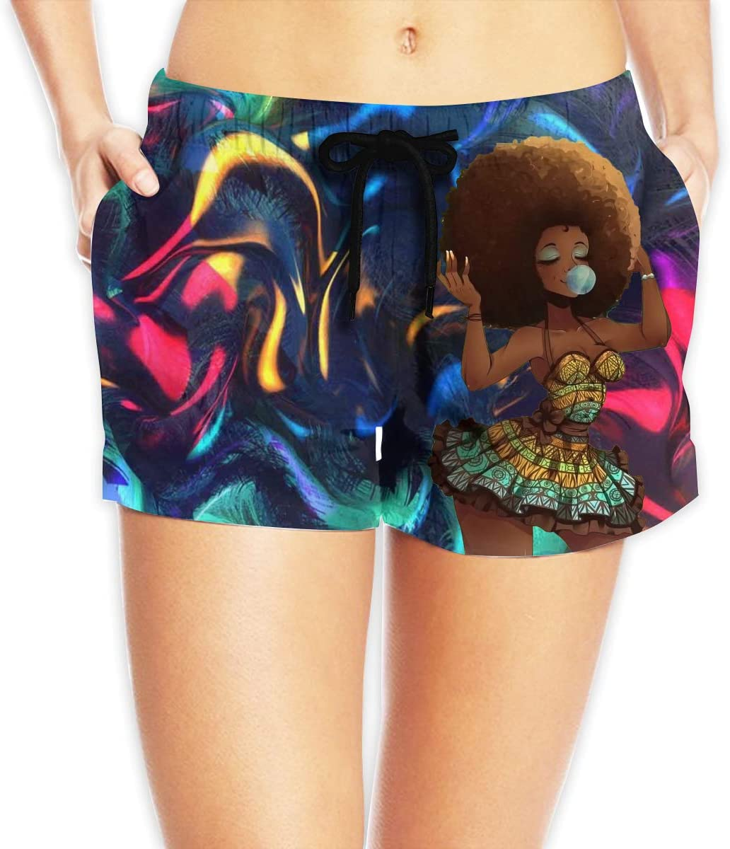 Hdecrr FFRE W Afro Hair African Girl Blowing Bubbles Women's Shorts Summer Quick Dry Drawstring Elastic Waist Casual Beach Shorts