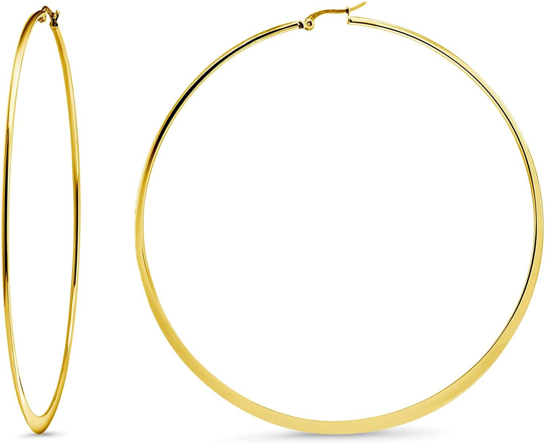 Gem Stone King 3.5 Inch Stainless Steel Yellow Gold Tone Flat Bottom Hoop Earrings (88mm Diameter)